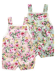Baby Fashion Floral Print One-Pieces,100%Cotton Spring Summer Sleeveless