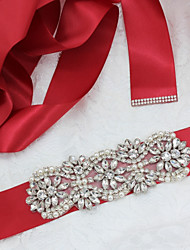 cheap -Satin/ Tulle Polyester/Cotton Wedding Special Occasion Party / Evening Sash With Rhinestone Imitation Pearl Women's Sashes