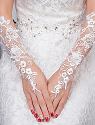 Elbow Length Fingerless Glove Lace Bridal Gloves All Seasons Floral Pearls