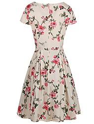 preiswerte -Damen Hülle Swing Kleid-Party Ausgehen Lässig/Alltäglich Retro Niedlich Street Schick Blumen V-Ausschnitt Knielang Kurzarm Polyester