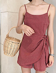cheap -Women's Going out Casual Summer Tank Top Pant Suits,Plaid/Check Strap Sleeveless Cotton