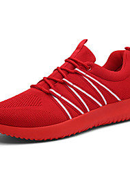 Masculino Tênis Conforto Tule Primavera Outono Casual Caminhada Cadarço Rasteiro Preto Cinzento Vermelho 5 a 7 cm