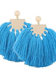 Bohemia Oversized Women  Fan-shaped  Fabric Tassel Big Drop Earrings