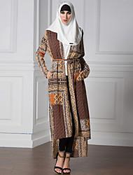 Vintage Boho Women Plus Size Muslim Dress Cardigan Geometric Print Long Gown Islamic Turkish Fashionable Abaya Maxi Robe Outwear