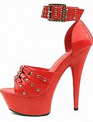 Damen High Heels formale Schuhe Sommer PU Kleid Party & Festivität Niete Schnalle Stöckelabsatz Schwarz Rot 12 cm & mehr