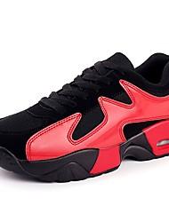 Femme Chaussures d'Athlétisme Marche Confort Polyuréthane Printemps Automne Athlétique Lacet Talon Plat Noir et Or Noir/blanc Noir/Rouge