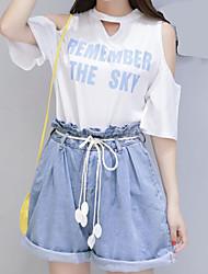 レディース カジュアル/普段着 夏 Tシャツ(21) パンツ スーツ,活発的 Vネック レタード 半袖