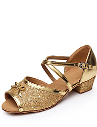 cheap -Women's Latin Sparkling Glitter Paillette Flat Sandal Indoor Buckle Sparkling Glitter Splicing Color Block Paillette Low Heel Gold Silver