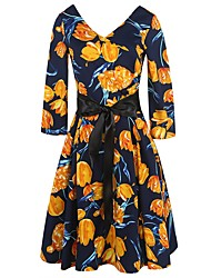 Women's Party Going out Casual/Daily Sexy Vintage Street chic Sheath Swing Dress,Floral Deep V Knee-length 3/4 Length Sleeves Polyester