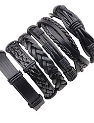 cheap -Men's Layered / Braided Leather Bracelet - Leather Punk, Rock Bracelet Black For Stage / Going out
