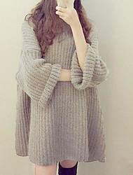 Standard Pullover Da donna-Casual Tinta unita Rotonda Manica lunga Altro Primavera Inverno Medio spessore Media elasticità