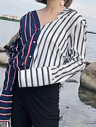 Недорогие -Для женщин Праздники На выход На каждый день Для клуба Осень Рубашка V-образный вырез,Секси Уличный стиль Полоски Длинный рукав,Полиэстер