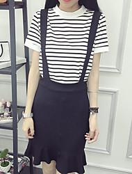 Damen Solide Gestreift Einfach Ausgehen Lässig/Alltäglich T-Shirt-Ärmel Rock Anzüge,Rundhalsausschnitt Sommer Kurzarm