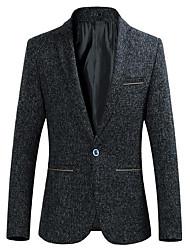 Men's Casual/Daily Simple Fall Blazer,Solid Shirt Collar Long Sleeve Regular Cotton