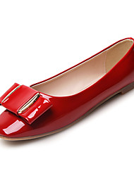 cheap -Women's Loafers & Slip-Ons Comfort Spring Fall Patent Leather Wedding Dress Party & Evening Bowknot Flat Heel Black Gray Ruby Flat
