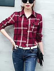 Women's Casual/Daily Simple Spring Fall Slim Shirt Check Shirt Collar Long Sleeve Blue Red Cotton Linen Medium