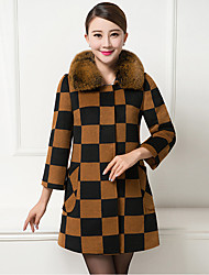 Women's Plus Size Going out Street chic Sophisticated Fall Winter Coat,Plaid Shirt Collar ¾ Sleeve Regular Cashmere Polyester