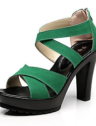 Women's Sandals Light Soles Spring Summer Fall Winter Leather Office & Career Party & Evening Dress Buckle Chunky Heel Khaki Green Black