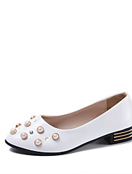cheap -Women's Shoes PU(Polyurethane) Spring / Summer Comfort Sandals Chunky Heel Round Toe Imitation Pearl White / Black / Party & Evening