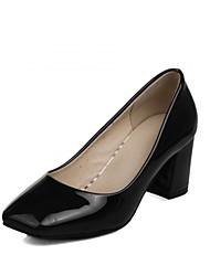 cheap -Women's Shoes Leatherette / PU(Polyurethane) Summer / Fall Comfort / Novelty Heels Walking Shoes Chunky Heel Square Toe Polka Dot Black /