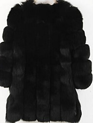 baratos -Mulheres Tamanhos Grandes Casaco de Pêlo Sólido, Pêlo Sintético