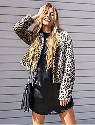 Women's Casual/Daily Simple Winter Fur Coat,Leopard Round Neck Long Sleeve Short Faux Fur
