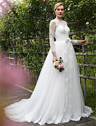 A-Line Illusion Neckline Court Train Lace Tulle Wedding Dress with Sash / Ribbon Bow Button by LAN TING BRIDE®