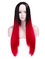 Fashion Black To Red Mixed Color Straight Synthetic Wigs Full Bang  Ladies Women Party Wig Daily Wearing