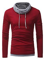 T-shirt Da uomo Casual Taglie forti Semplice Moda città Autunno,Monocolore A collo alto Poliestere Manica lunga Medio spessore