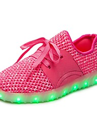 Mädchen Sportschuhe Komfort Leuchtende LED-Schuhe Netz Herbst Winter Sportlich Normal Walking Schnürsenkel Flacher AbsatzSchwarz Rot Blau