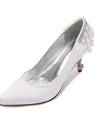 Women's Wedding Shoes Comfort D'Orsay & Two-Piece Basic Pump Spring Summer Satin Wedding Dress Party & Evening Rhinestone Pearl Imitation