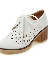 Women's Oxfords Comfort Novelty Driving Shoes Fall Leatherette Wedding Casual Outdoor Lace-up Chunky Heel White Black Gray 2in-2 3/4in