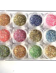 12 colorano l'arte acrilica acrilica della polvere di glitter di chiodo del chiodo di colore diy scintillanti lucidi dentellare giallo blu diy