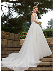 A-Line Straps Chapel Train Tulle Wedding Dress with Beading Sash / Ribbon Side-Draped by LAN TING BRIDE®