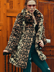 cheap -Women's Vintage Plus Size Faux Fur Fur Coat - Leopard Shirt Collar