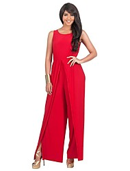 cheap -Women's Daily Beach Casual Solid Round Neck Jumpsuits,Wide Leg Sleeveless Summer Polyester