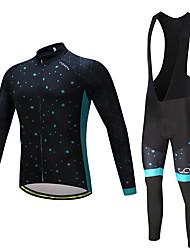 Fahrradtrikot mit Trägerhosen Herrn Langarm Fahhrad Kleidungs-Sets Rasche Trocknung YKK Reißverschluss 3D Pad Polyester Vlies LYCRA®