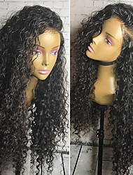 cheap -Women Human Hair Lace Wig Human Hair Glueless Lace Front 150% Density Curly Wig Black Short Medium Length Long African American Wig Women