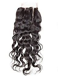 abordables -El pelo remy del bebé del cierre del pelo humano del remiendo del frente del cordón de la onda de agua 4x4inch 8-20inch