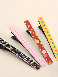 cheap -Long Paragraph Printed One Word Clip Korean Version of the Fashion Side of the Korean Jewelry Bangs Folder Hairpin Mixed With 10PCS