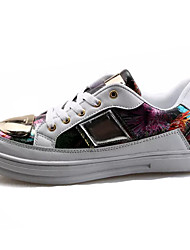 economico -Da donna Sneakers Comoda PU (Poliuretano) Primavera Autunno Casual Footing Lacci Piatto Bianco Nero Schermo a colori 5 - 7 cm