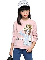 cheap -Girls' Print Embroidered Tee,Cotton Fall All Seasons ¾ Sleeve Floral White Blushing Pink