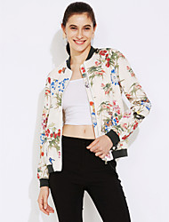 cheap -Women's Going out Street chic Jackets,Floral Stand Long Sleeve Fall / Winter White Polyester Medium