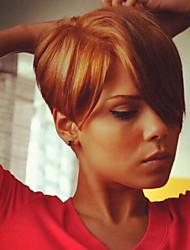 cheap -Classic Straight Machine Made Human Hair Wigs African American Wig High Quality Daily Medium Auburn