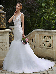 cheap -Mermaid / Trumpet Plunging Neckline Chapel Train Lace Tulle Wedding Dress with Appliques Tiered by LAN TING BRIDE®