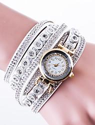 Women's Fashion Watch Wrist watch Bracelet Watch Pave Watch Chinese Quartz Leather PU Band Unique Creative Luxury Casual Black White Blue