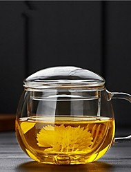 cheap -1Piece/Thickening heat-resistant glass round fun three cups tea cup filter covered with round office flowers teacup