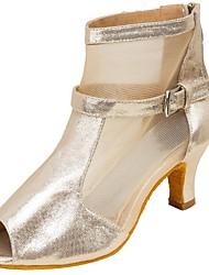 Women's Dance Boots Tulle Leatherette Sandal Heel Professional Buckle Splicing Customized Heel Nude 1 - 1 3/4 2 - 2 3/4 3 - 3 3/4
