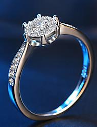 preiswerte -Damen Kubikzirkonia Kubikzirkonia / Silber Bandring - Kreisform Elegant / Modisch / Simple Style Silber Ring Für Hochzeit / Verlobung /