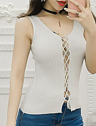 cheap -Women's Daily Casual Tank Top,Solid Round Neck Sleeveless Cotton